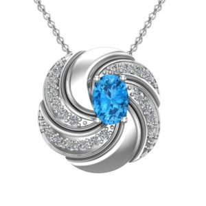 Sterling Silver Twist Oval Cut Swiss Blue Topaz Gemstone Necklace with White Topaz