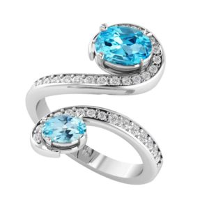 Sterling Silver Swiss Blue/Sky Blue Topaz Gemstone Ring with White Topaz