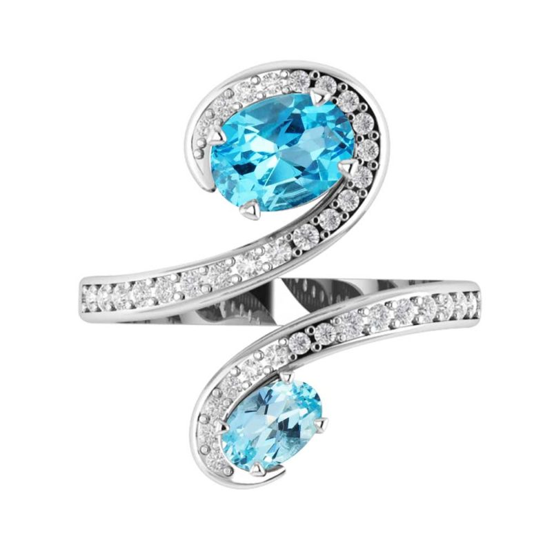 Sterling Silver Swiss Blue/Sky Blue Topaz Gemstone Ring with White Topaz