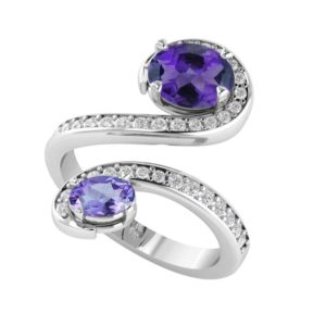 Sterling Silver Amethyst Gemstone Ring with White Topaz