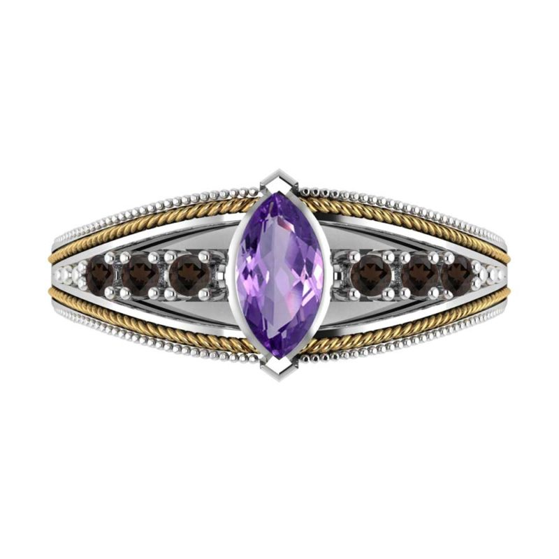 Attractive Sterling Silver & 14K Gold Ring with Marquise Cut Amethyst & Smokey Quartz