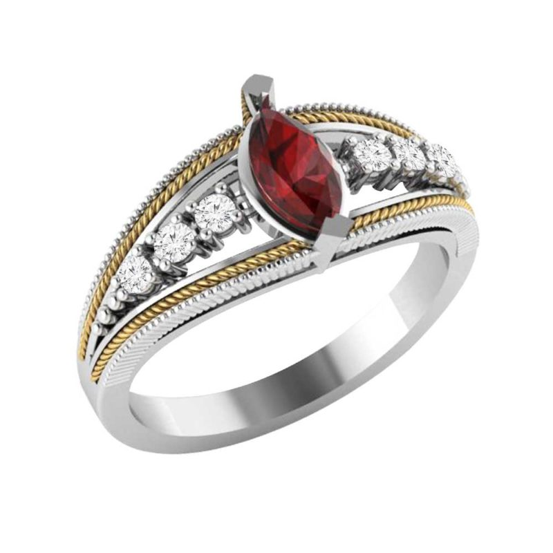 Attractive Sterling Silver & 14K Ring with Marquise Cut Created Ruby & White Topaz
