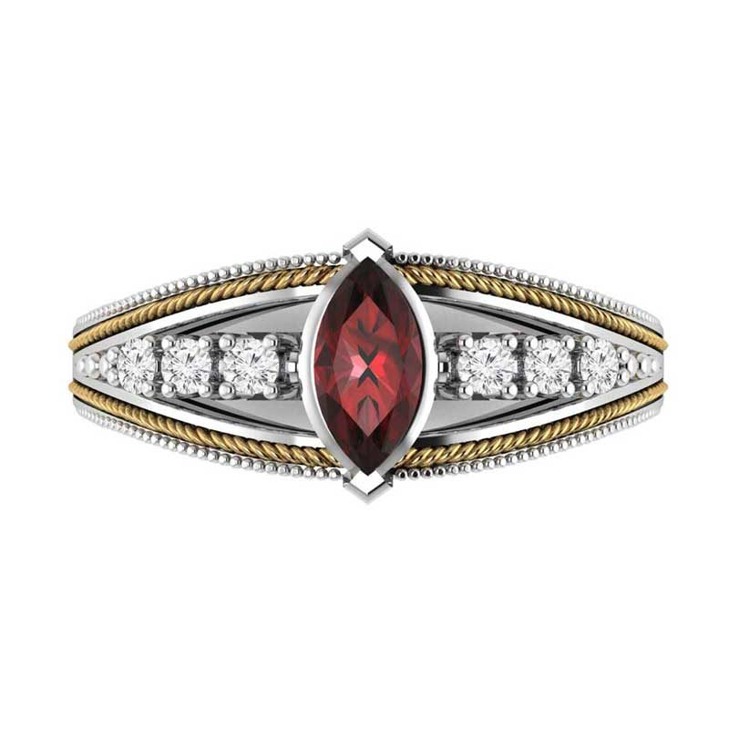 Attractive Sterling Silver & 14K Gold Ring with Marquise Cut Created Ruby & White Topaz