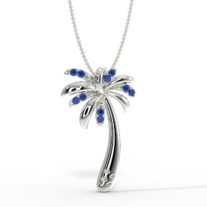 Solid Sterling Silver Tropical Palm Tree Necklace in Created Blue Sapphire