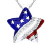 Independence Day American flag Brass Star Necklace with White Cubic Zirconia