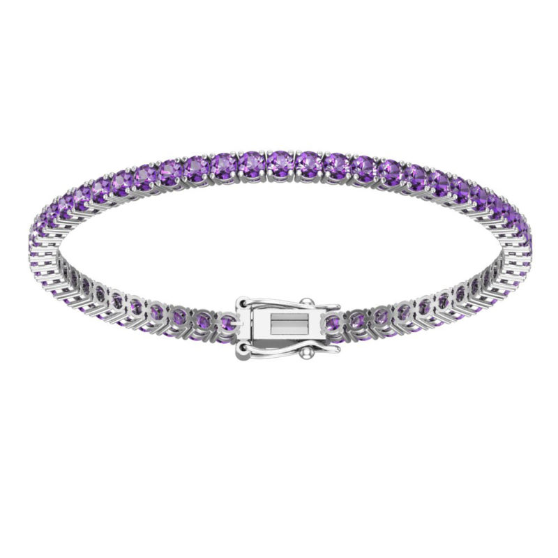 Sterling Silver Bracelet with 3mm Round Amethyst Tennis Bracelet