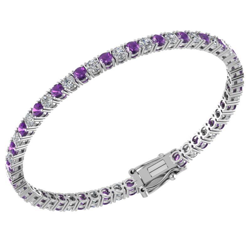 Elegant Sterling Silver Amethyst & White Topaz Tennis Bracelet