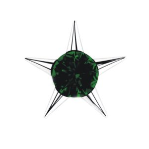 Sterling Silver Star Stud Earrings with 3mm Created Emerald Gemstone in Center for Women
