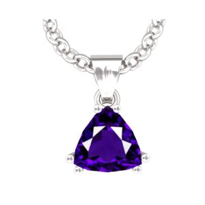 Solid Sterling Silver 4 Carat Natural Amethyst Pendant Necklace with 17.5 inch Anchor Chain SSP 1200