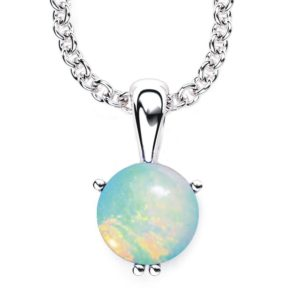 "Solid Sterling Silver 10mm Round Brilliant Created Opal Necklace with 17.5 "" Anchor Chain"