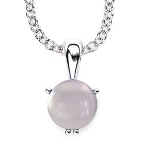 "Solid Sterling Silver 10mm Round Appealing Rose Quartz Necklace with 17.5 "" Anchor Chain"