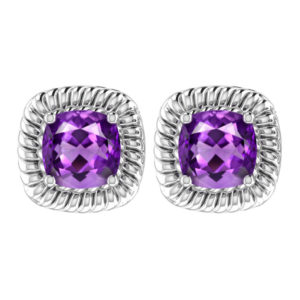 Classic Solid Sterling Silver Square Shaped Amethyst 8mm Earrings