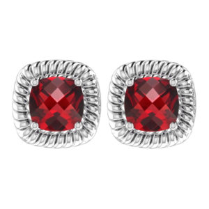 Classic Solid Sterling Silver Square Shaped Garnet 8mm Earrings