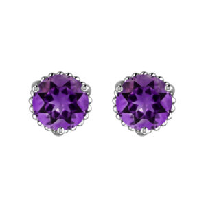 Solid Sterling Silver 7mm Round Amethyst Earrings with for Women