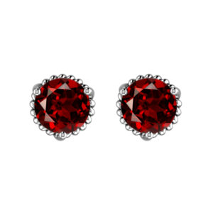 Solid Sterling Silver 7mm Round Garnet Earrings for Women