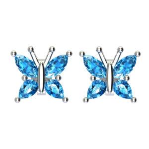 Beautiful Sterling Silver Swiss Blue Topaz Butterfly Stud Earrings