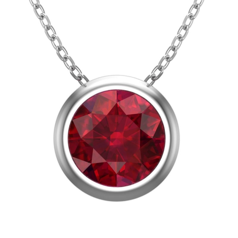 "Sterling Silver 8 mm Round Created Ruby 17.5"" Rope Chain for Women"