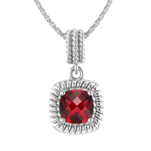 Sterling Silver 8mm Square Shaped Garnet Pendant Necklace