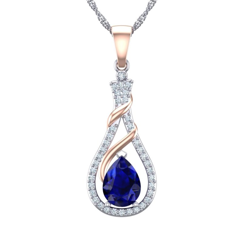 "Stunning Two-tone Sterling Silver Swirl Rose Gold 7x5mm Created Blue Sapphire Necklace with Created White Sapphire 18"" Singapore Chain"