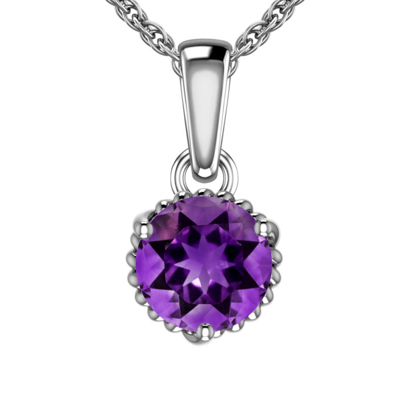 Sterling Silver Round Classic Amethyst Pendant Necklace for Women