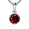 Sterling Silver Round Classic Garnet Pendant Necklace for Women