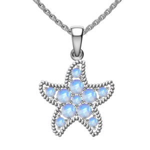 Solid Sterling Silver Rainbow Moonstone Encrusted Starfish Necklace with 17.5 inch Anchor Chain