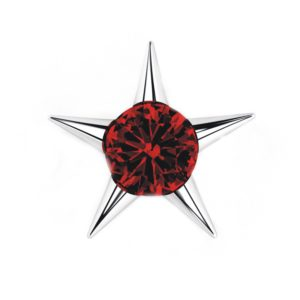 Sterling Silver Star Stud Earrings with 3mm Created Ruby Gemstone in Center for Women