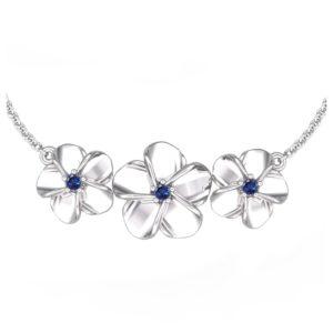 SSP 1298 Blue Sapphire floral pendant necklace 3