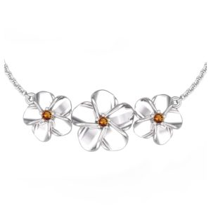 SSP 1298 Citrine floral pendant necklace