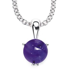 """Solid Sterling Silver 10mm Round Alluring Natural Amethyst Necklace with 17.5 """" Anchor Chain"""