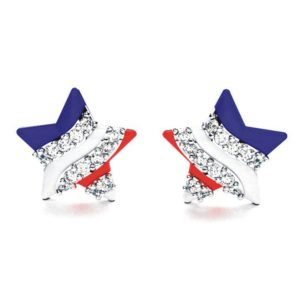 Solid Sterling Silver Created White Sapphire American Flag Earrings