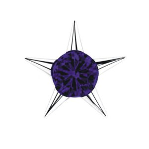 Sterling Silver Star Stud Earrings with 3mm Amethyst Gemstone in Center for Women