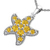 Solid Sterling Silver Citrine Encrusted Starfish Necklace with 17.5 inch Anchor Chain