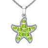 Solid Sterling Silver Peridot Encrusted Starfish Necklace with 17.5 inch Anchor Chain