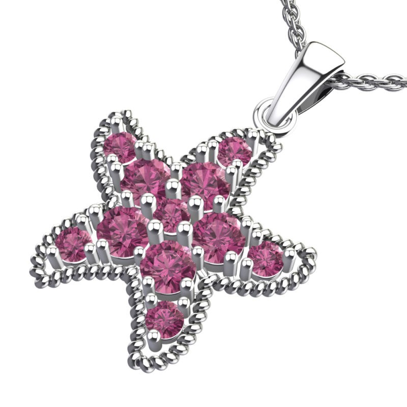 Solid Sterling Silver Pink Tourmaline Encrusted Starfish Necklace with 17.5 inch Anchor Chain