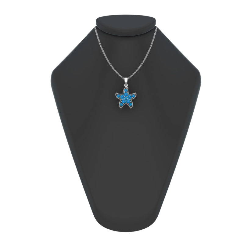 Solid Sterling Silver Swiss Blue Topaz Encrusted Starfish Necklace with 17.5 inch Anchor Chain for Women