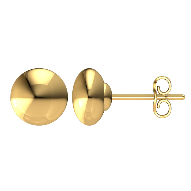5mm 14K Solid Yellow Gold Flat Button Ball Earrings Stud
