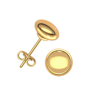 6mm 14K Solid Yellow Gold Flat Button Ball Earrings Stud