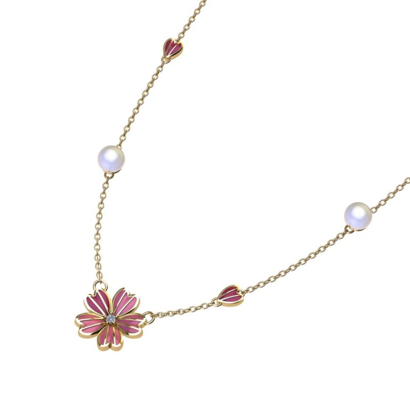 This enamel Floral Necklace is complimented with white pearls on the side, and two little hearts for extra adorableness. The hearts with the white pearls gives it a look of sophistication, while still remaining aesthetically attractive.