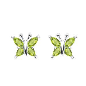 Beautiful Sterling Silver Peridot Butterfly Stud Earrings SSE 3609