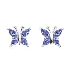Beautiful Sterling Silver Tanzanite Butterfly Stud Earrings