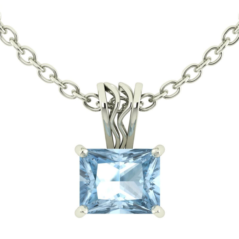 Solid Sterling Silver 10x8mm Baguette Natural Sky Blue Topaz Necklace with 17.5 Inch Anchor Chain for Women