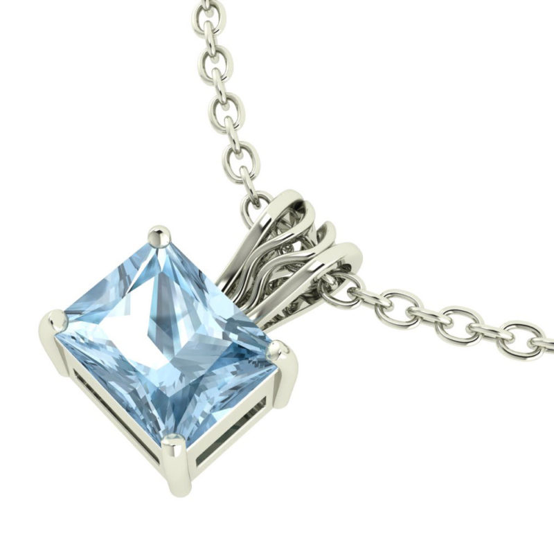 Solid Sterling Silver 10x8mm Baguette Natural Sky Blue Topaz Necklace with 17.5 Inch Anchor Chain for Women SSP 1203