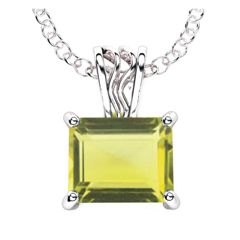 Solid Sterling Silver 10x8mm Baguette Lemon Quartz Necklace with 17.5 Inch Anchor Chain for Women