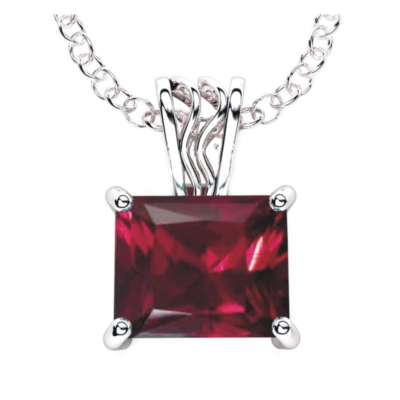 Solid Sterling Silver 10x8mm Baguette Created Ruby Necklace with 17.5 Inch Anchor Necklace for Women