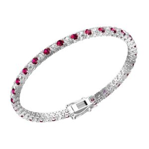 Gorgeous Solid Sterling Silver Bracelet with 3mm Round Created Ruby & Natural White Topaz Tennis Bracelet
