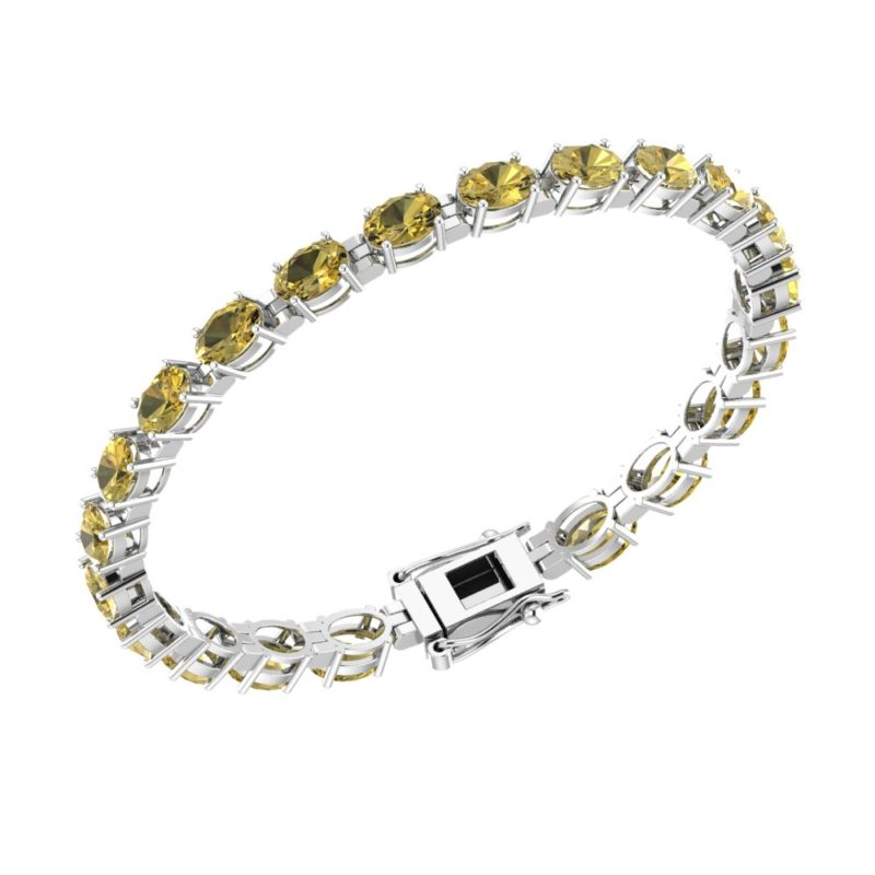 Oval Shape Citrine Tennis Bracelet in Sterling Silver