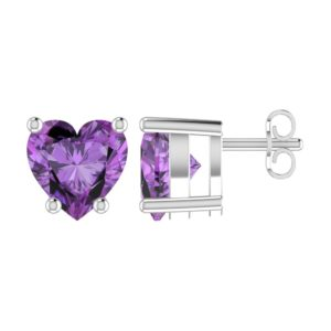 Solid Sterling Silver 5mm Heart Shaped 1/3 Carat Purple Cubic Zirconia High Polished Stud Earrings with Push Backs
