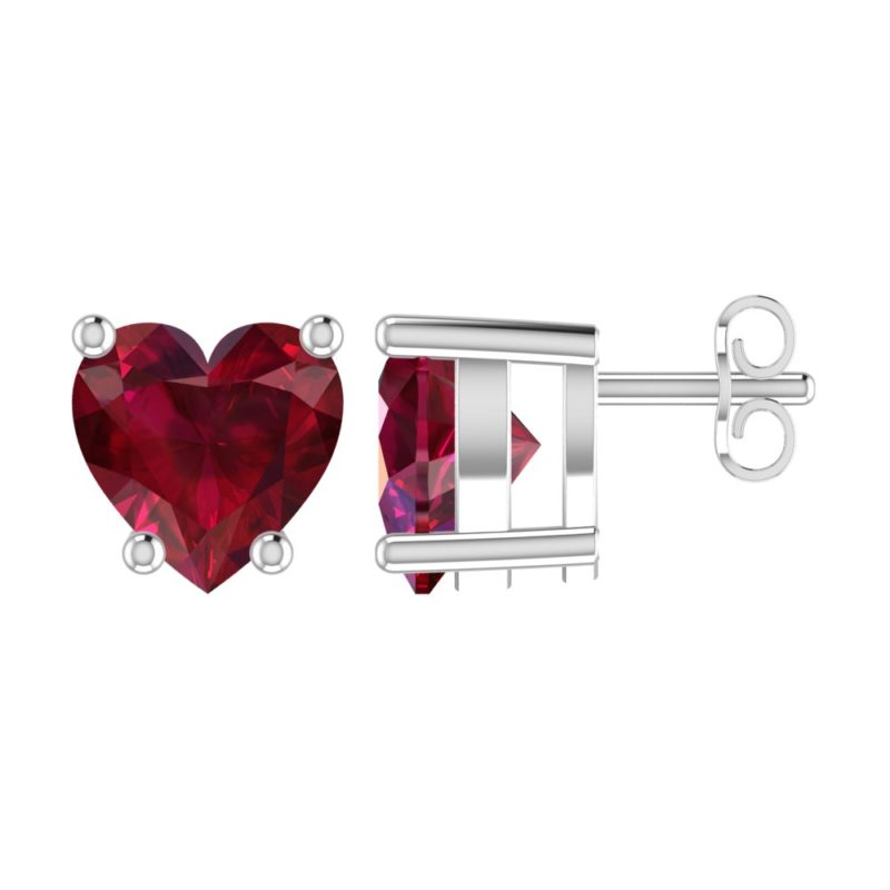 olid Sterling Silver 5mm Heart Shaped 1/3 Carat Red Cubic Zirconia High Polished Stud Earrings with Push Backs