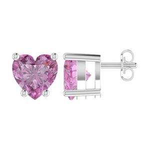 Solid Sterling Silver 5mm Heart Shaped 1/3 Carat Pink Cubic Zirconia High Polished Stud Earrings with Push Backs